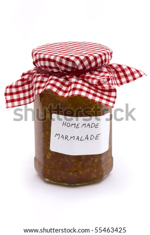 jar of homemade marmalade on a white background - stock photo