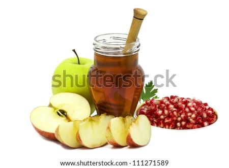 Jar of honey and festive fruits isolated on white background - stock photo