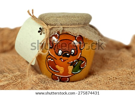 jar of honey with a note - stock photo