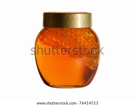 Jar of Honey with honeycomb isolated on white - stock photo