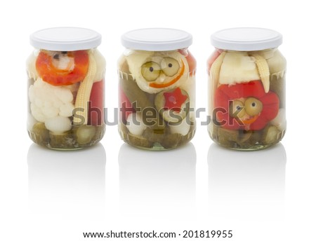Jar of mixed pickles isolated on white background (with PS paths) - stock photo