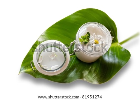 Jar of moisturizing facial cream - stock photo