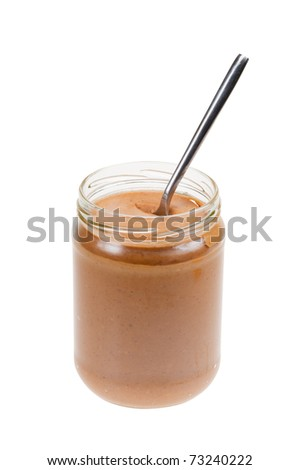 Jar of peanut butter with spoon  isolated on a white background