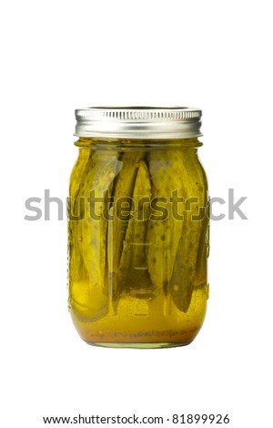 Jar of pickles preserved traditionally isolated