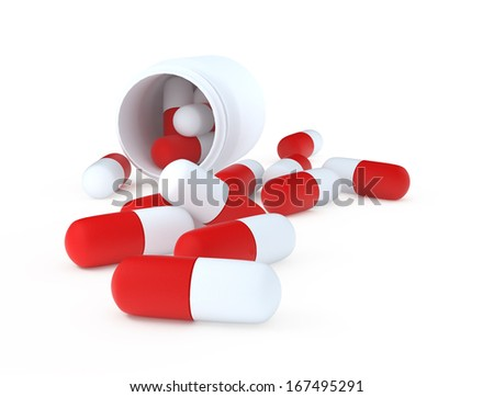 jar of pills on a white background - stock photo