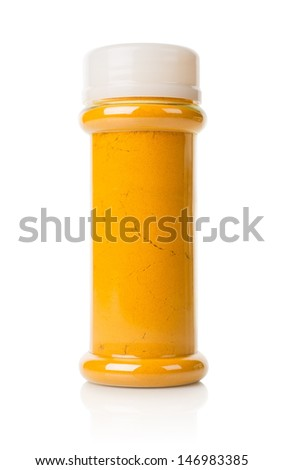 Jar of turmeric isolated on a white background - stock photo