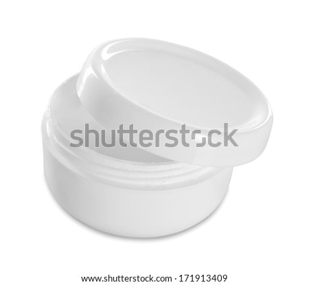 jar or blank packaging for cosmetic product with cap isolated in white - stock photo