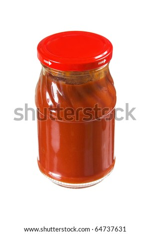jar tomato paste isolated on white background - stock photo