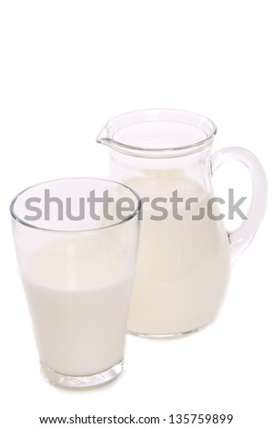 Jar with glass of milk isolated over white background