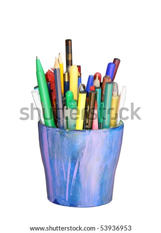 jar with pencils isolated on white