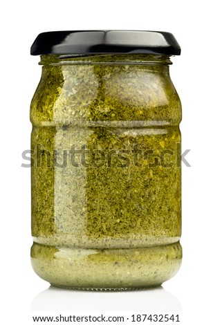 Jar with pesto sauce isolated on the white background - stock photo