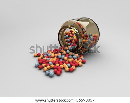 Jar with scattered question balls - stock photo