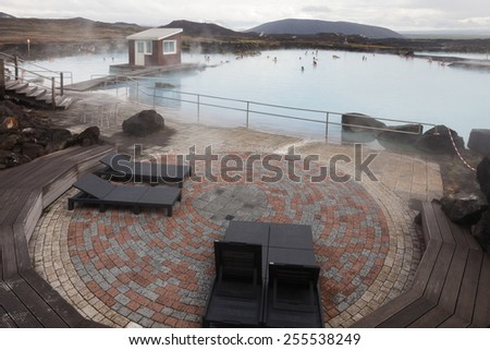 JARDBADSHOLAR, ICELAND -OCTOBER 21, 2014:  Myvatn Nature Baths is a lagoon in the Myvatn area. Lagoon located in the heart of north-east Iceland. Its water has a temperature of 36-40°C