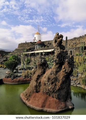 Jardin de Cactus(Cactus Garden), Lanzarote, Canary Islands, Spain - stock photo