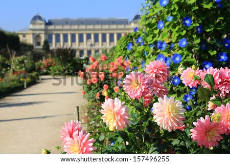 Jardin de Plantes, main botanical garden in France. The exterior of the Grande Galerie de l'�©volution (Great Evolution Galery), part of the National museum of the natural history on the background. - stock photo