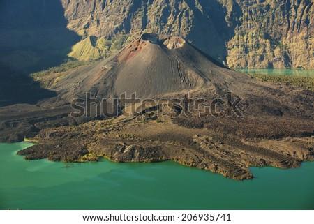 Jari Baru volcano and lake inside  Rinjani mountain, Lombok, Ind - stock photo