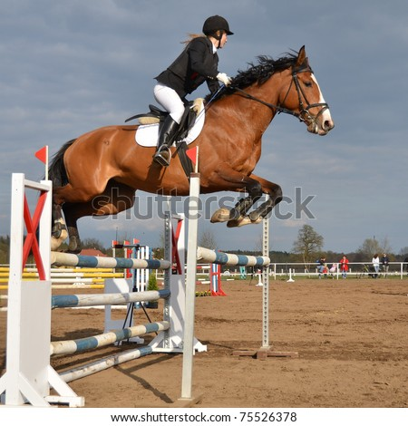 JAROSZOWKA, POLAND - APRIL 16: An unidentified competitor during the international competition Eventing on April 16, 2011 in Jaroszowka, Poland. - stock photo