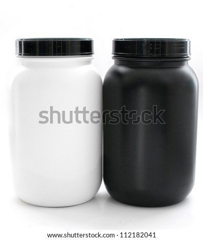 Jars for sport supplements black and white isolated - stock photo