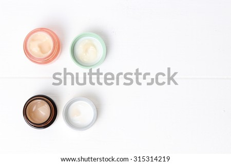 Jars of cosmetic cream