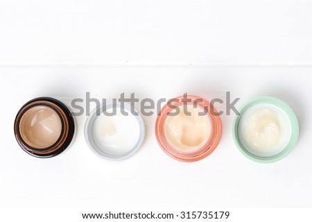 Jars of cosmetic cream - stock photo