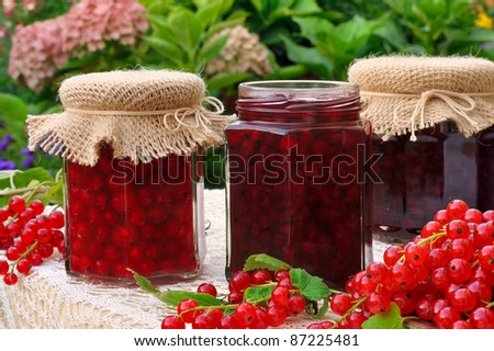 Jars of homemade red currant jam with fresh fruits - stock photo