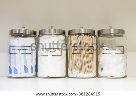 Jars of medical equipment - stock photo