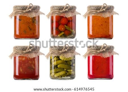 jars of pickled vegetables. Marinated food.