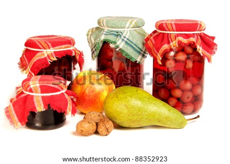 jars of preserves isolated on white - stock photo