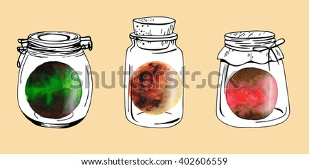 Jars with watercolor planet
