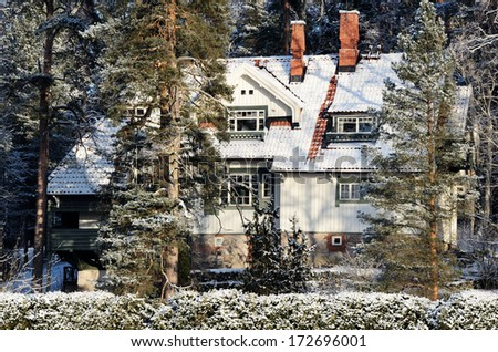 JARVENPAA, FINLAND - JANUARY 22, 2014: Ainola, the home great Finnish composer Jean Sibelius and his family in winter