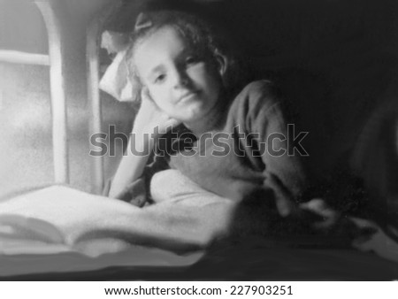 JASLO,POLAND - CIRCA 1949: vintage photo of girl reading book