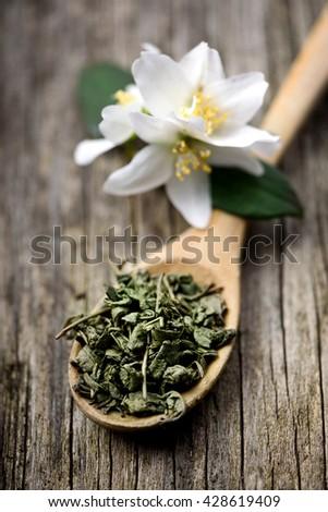 Jasmine and green tea in wooden spoon - stock photo