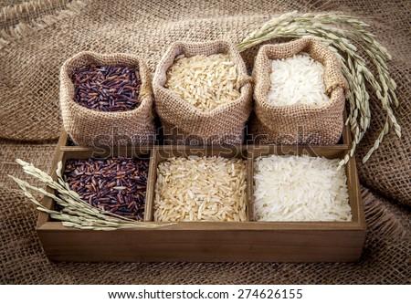 Jasmine rice, Coarse rice Brown Rice - stock photo