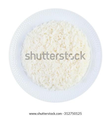 jasmine Rice on White plate - stock photo