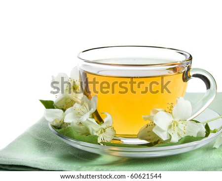 jasmine tea isolated on a white - stock photo