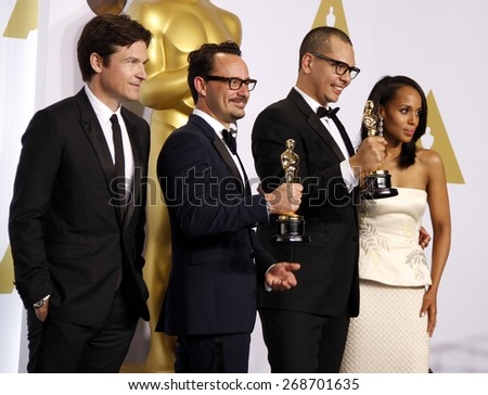 Jason Bateman, James Lucas, Mat Kirkby and Kerry Washington at the 87th Annual Academy Awards Press Room held at the Loews Hollywood Hotel in Hollywood on February 22, 2015.