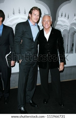 Jason Lewis and Giorgio Armani at the Giorgio Armani Prive Show to celebrate the Oscars. Green Acres, Los Angeles, CA. 02-24-07 - stock photo