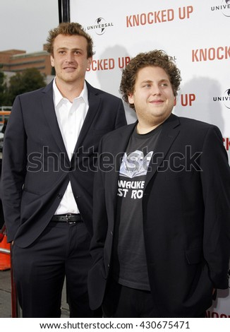 Jason Segel and Jonah Hill at the Los Angeles premiere of 'Knocked Up' held at the Mann Village Theatre in Westwood, USA on May 21, 2007. - stock photo