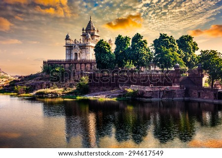 Jaswanth Thada mausoleum on sunset, Jodhpur, Rajasthan, India - stock photo