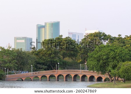 JATUJAK PUBLIC PARK, BANGKOK, THAILAND MARCH 11, 2015: The landscape view of a public park. Jatujak Public Park is the largest public for Bangkok's people to exercise and relax. - stock photo