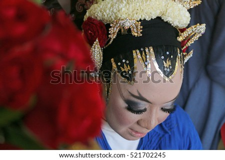 Javanese wedding procession makeup before the start of the event, with backgrounds abstract
