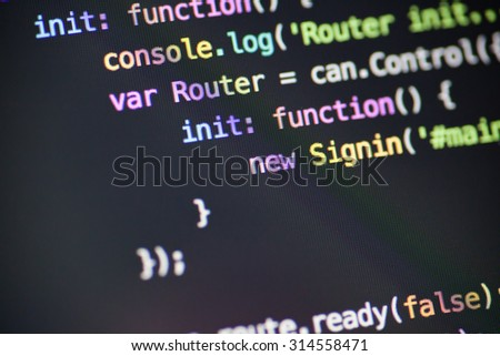 Javascript code lines - stock photo