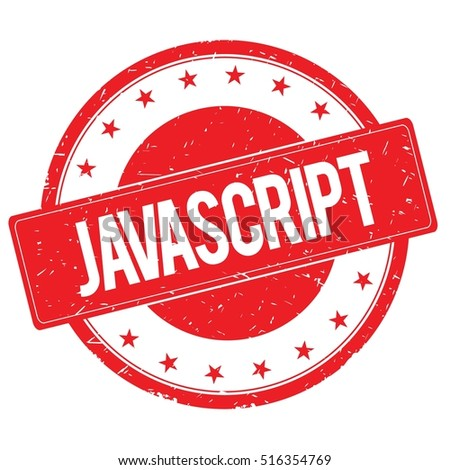 JAVASCRIPT stamp sign text word logo red.
