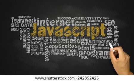 javascript word cloud with related tags - stock photo