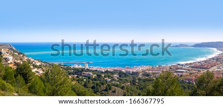 Javea panoramic in Alicante aerial view Valencian Community of spain with Mediterranean sea - stock photo
