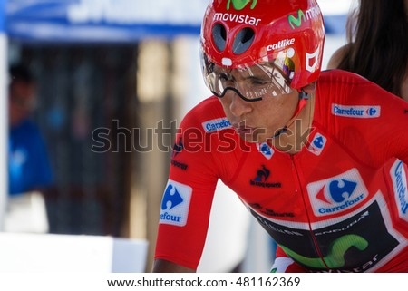 JAVEA - SEPTEMBER 9: Nairo Quintana concentrates for the decisive time trial stage of La Vuelta on September 9, 2016 in Alicante, Spain
