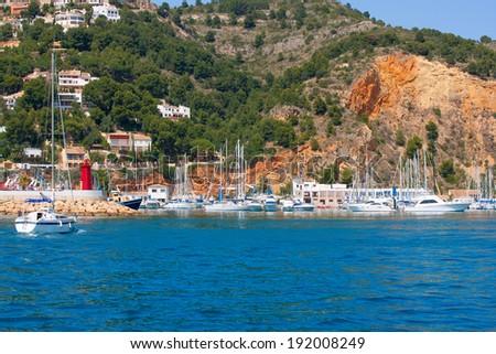 Javea Xabia port marina good vacation destination in Alicante Spain - stock photo