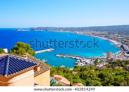 Javea Xabia village aerial view in Mediterranean sea of Alicante spain - stock photo