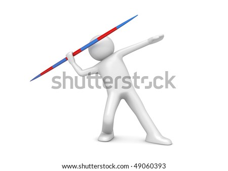 Javelin throwing (3d isolated on white background sports characters series) - stock photo