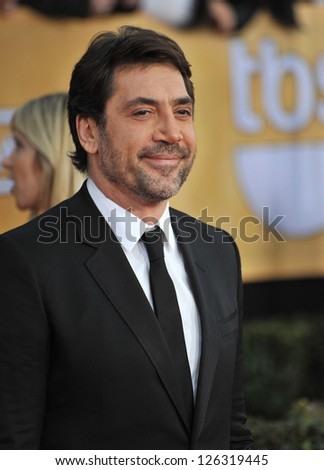 Javier Bardem at the 19th Annual Screen Actors Guild Awards at the Shrine Auditorium, Los Angeles. January 27, 2013  Los Angeles, CA Picture: Paul Smith - stock photo